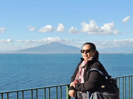 Palazzo Marziale: The Bay of Naples and Vesuvius from the public terrace on front of thehotel