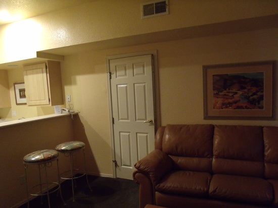 Westgate Painted Mountain Golf Resort : Living room and part of kitchen... shows adjoining door for unit B