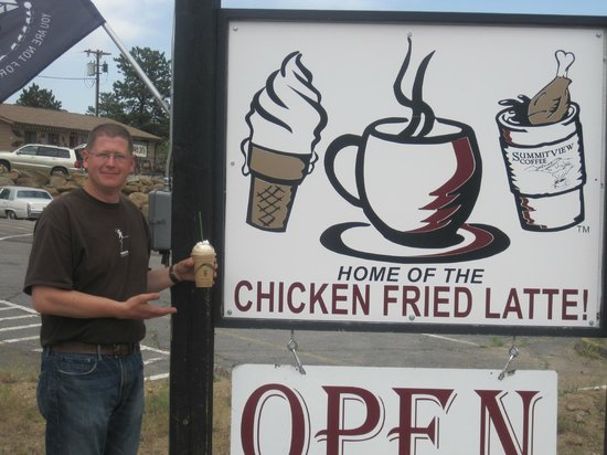 SummitView Coffee: my husband holding a chicken fried latte