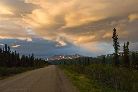 Stewart-Cassiar Highway: Sunset along Cassiar Hwy... approximately 11pm.