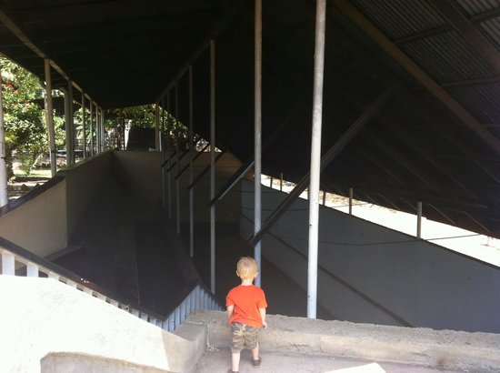 Museo Sitio Huellas de Acahualinca: Our kid loved climbing around