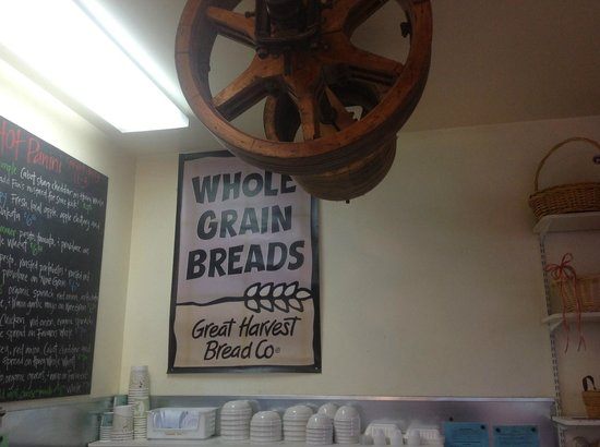 Great Harvest Bread Company: Nice sign and old mill wheels for decoration