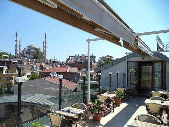Albinas Hotel: Roof terrace view