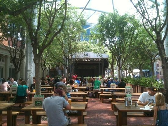 Flying Saucer: outside seating is warm in June