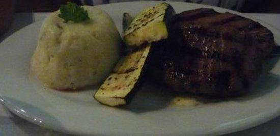 Black Orchid Restaurant: Tender, tasty lava-grilled rib eye with garlic mashed potatoes