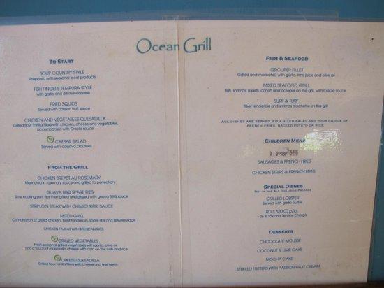 VH Gran Ventana Beach Resort: Ocean Grill Menu