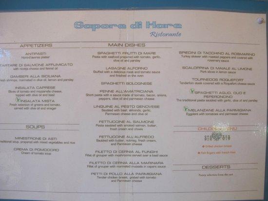 VH Gran Ventana Beach Resort: menu