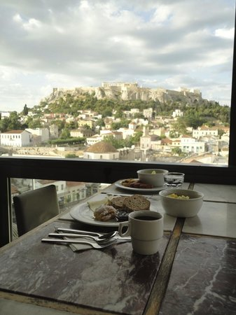 A for Athens: Breakfast view w/ the Parthenon in the background. Amazing!