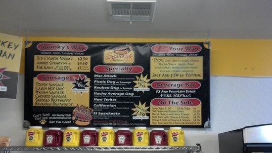 Spanky's Dog House: menu