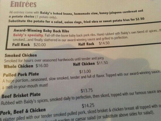 Baldy's Barbeque : Pic of Dinner Entrées and Pricing.