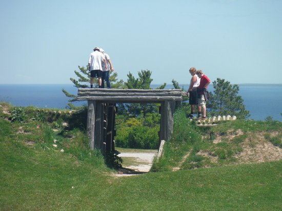 Fort Holmes: entrance to fort, plus people.