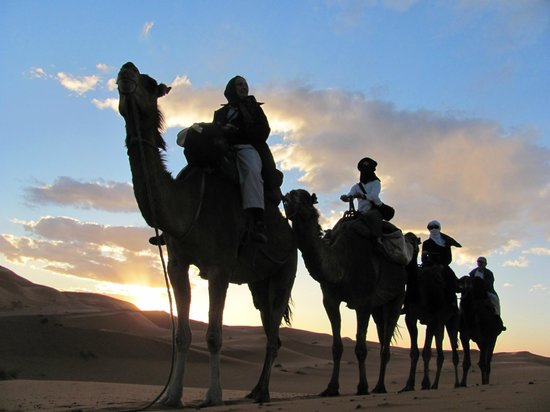 Morocco Explored - Day Tours : Just the four of us, heading to our overnight camp, Erg Chebbi.
