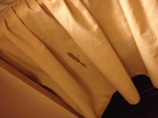 Edinburgh Gallery Bed and Breakfast: Dried blood on the bed linen.