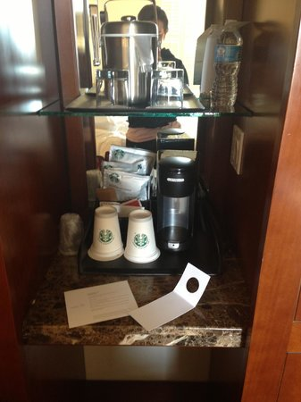 The Westin Pasadena: The coffee area, it's kinda in the closet.