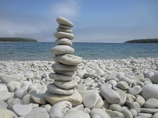 Schoolhouse Beach: Have a rock stacking contest.