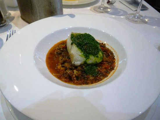 The Seafood Restaurant Accommodation: Cod with lentils etc