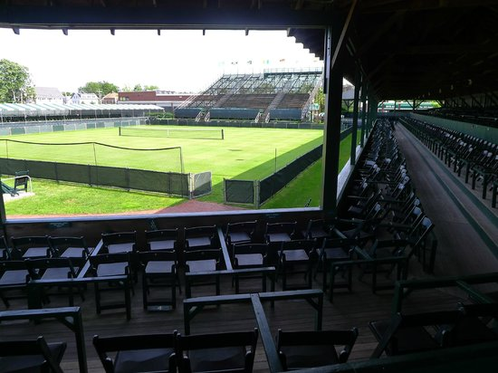 International Tennis Hall of Fame: Main tennis court for professional tournaments with viewing stands