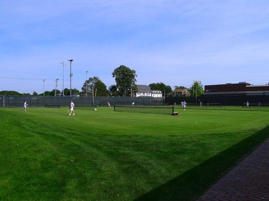 International Tennis Hall of Fame: Players in action on the outer courts