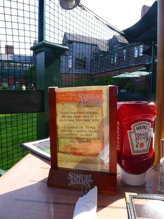 International Tennis Hall of Fame: Note at restaurant of a $0.75 charge per restaurant guest for grounds maintenance