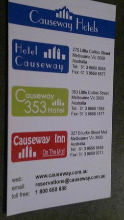 Causeway Inn On The Mall: Business Card