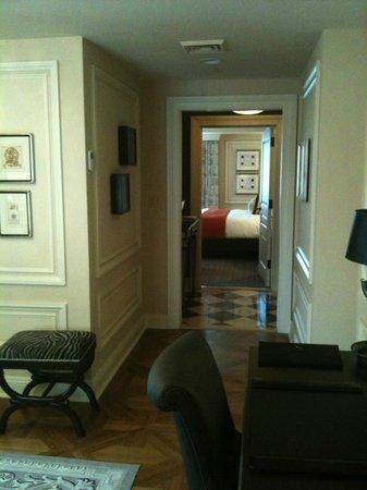 The Jefferson, Washington DC: View down hallway toward bedroom