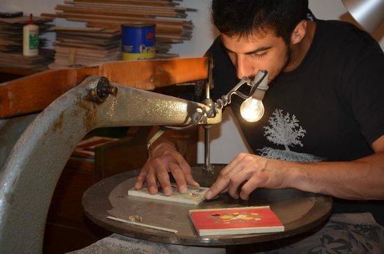 Museobottega della Tarsialignea : momenti di lavoro presso il workshop tenuto presso il Museo