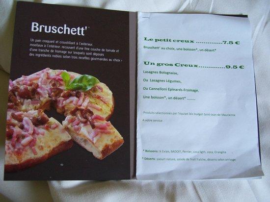 """Ibis Budget Saint Jean de Maurienne : Menù """"piatti pronti"""" a disposizione"""