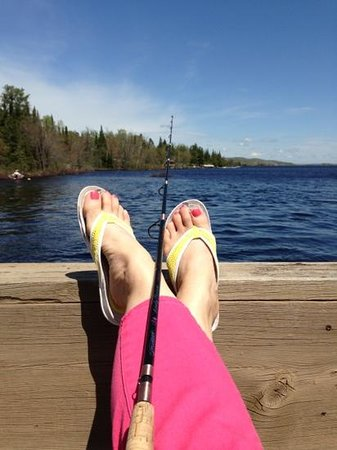 Cross River Lodge: Fishing with my pink fishing pole.  Yup, it catches nice fish.