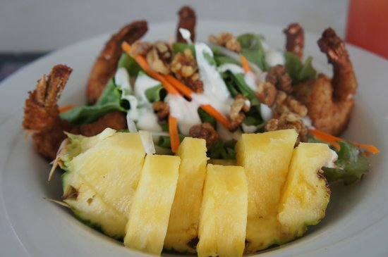 Nisbet Plantation Beach Club: Coconut prawn and pineapple salad