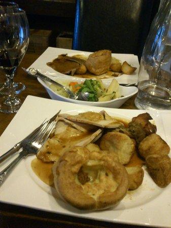 The Old White Lion Hotel Restaurant: mains: turkey roast (front) beef roast (back)