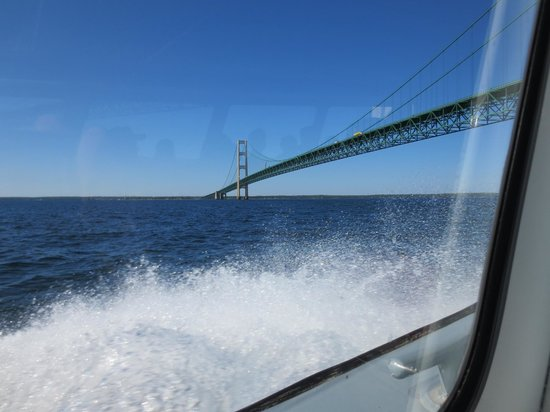 Shepler's Mackinac Island Ferry: Under the Mackinac Bridge on Shepler's Ferry