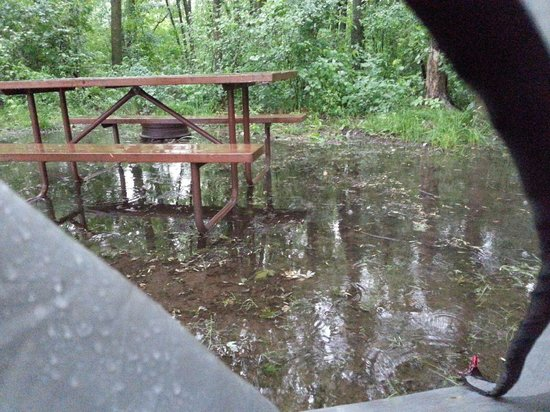 Sherwood Forest Camping & RV Park: Sherwood Forest Campground in Wisconsin Dells became a lake because of drainage problems.