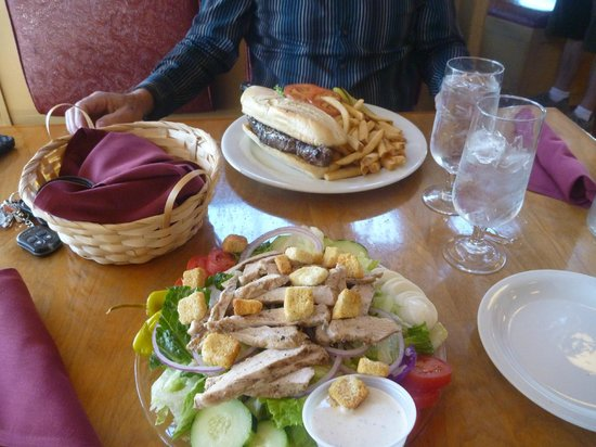 White Mountain Cafe : Our meal: steak sandwich and grilled chicken salad, Jun 2013