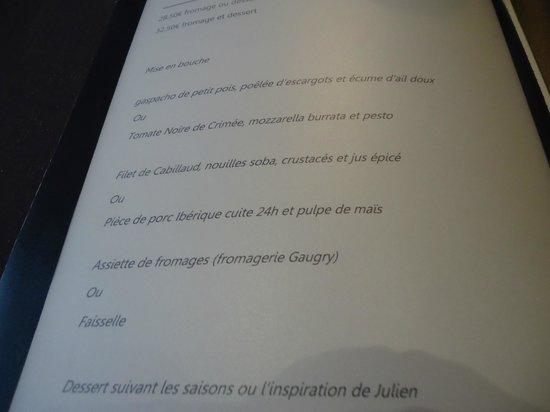 La cabotte : le menu