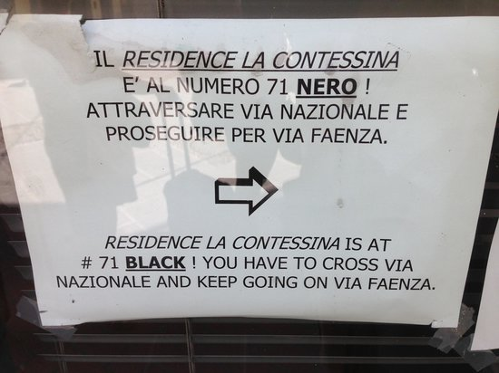 Residence La Contessina: wrong address note