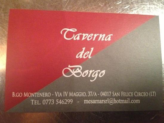 La Taverna del Borgo : per prenotare...