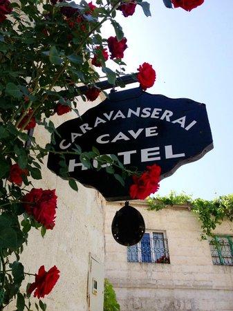 Caravanserai Cave Hotel: Hotel sign