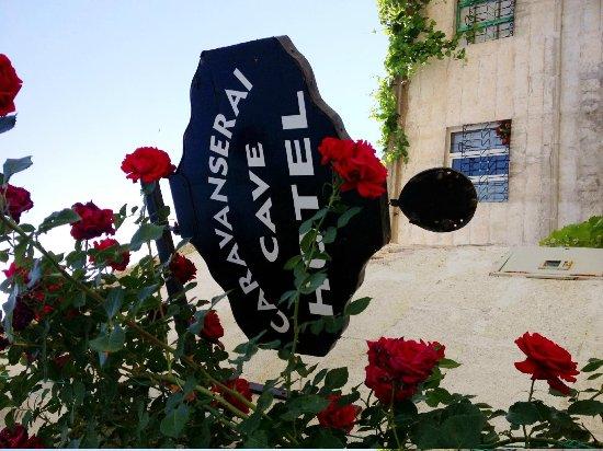 Caravanserai Cave Hotel : Hotel sign