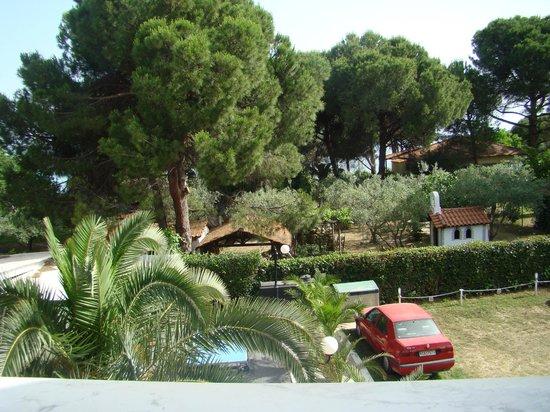 Hotel Diaporos: Парковка. За соснами - море. Вид с балкона