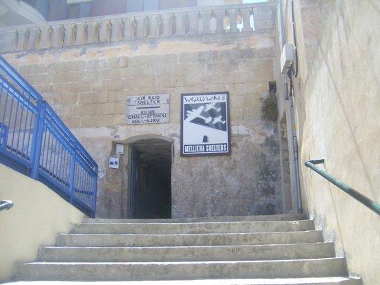 Mellieha Air Raid Shelter: Steps to entrance