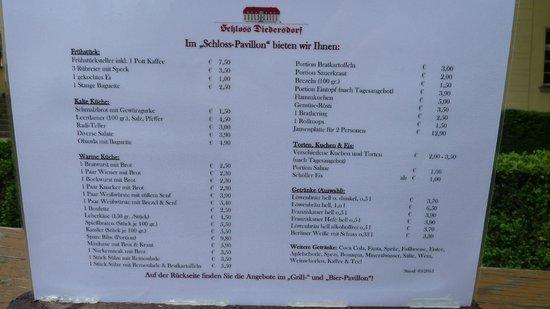 Schloss Diedersdorf : Biergarten Speisekarte