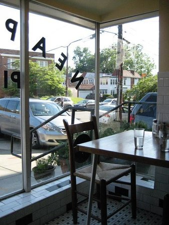 Two Amys : View of street from one of two front window seats