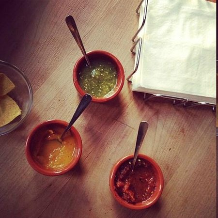 verde, habanero, and red salsa - all delicious, but the yellow one is EXTREME