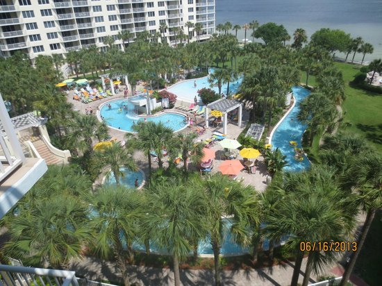 Destin West Beach and Bay Resort: View of pool area and Bay from Sandpiper Penthouse