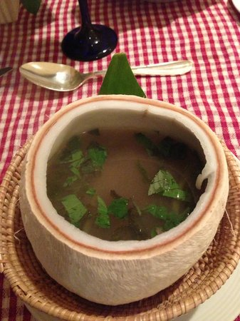 InterContinental Phnom Penh: Sweet and Sour Chicken Soup with Hot Basil in Young Coconut Shell