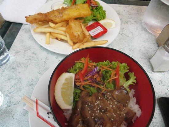 Pop Inn Cafe : Fish & Chips , Chicken Teriyaki on Rice