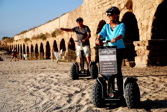 Segs - Segway Tours : Segs @ the aqueduct of Caesarea