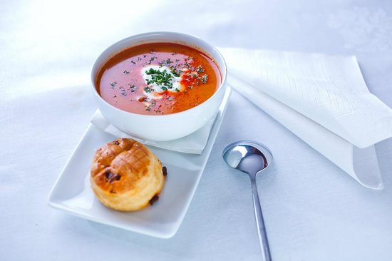 Hungarian Goulash Soup with pinched Dumplings and Hot Green Pepper