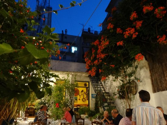 O Santorinios: the garden of the restaurant