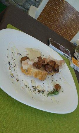 Hotel Chalet Plan Gorret: Castagne con lardo di Arnad e miele